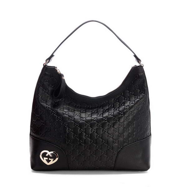 Gucci Lovely Heart Shaped Interlocking G Hobo Bag 257070 Black