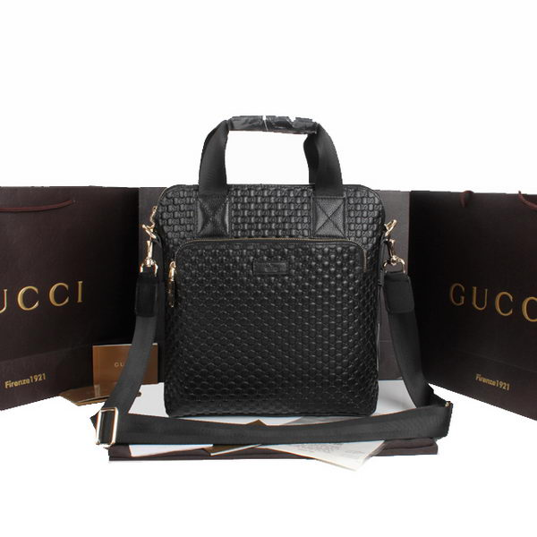 Gucci Briefcase Messenger Bag Guccissima Leather 854362 Black