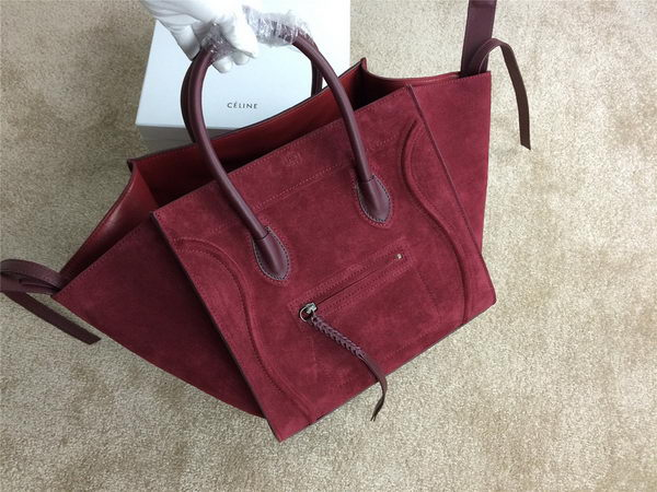 Celine Luggage Phantom Bags Nubuck Leather 99013 Burgundy