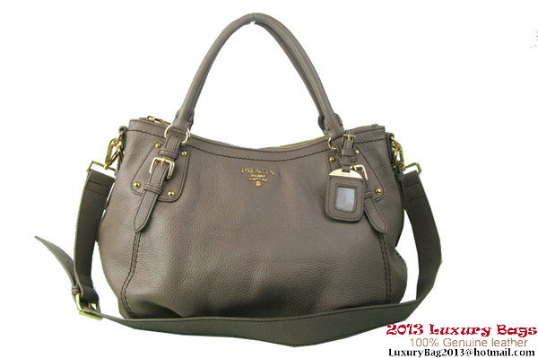 Prada BR4579 Grained Calf Leather Tote Bag Grey