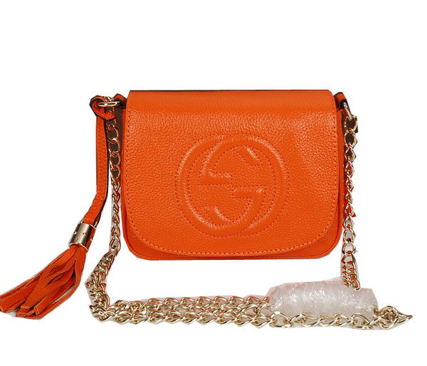 Gucci Soho Grainy Leather Chain Shoulder Bag 323190 Orange