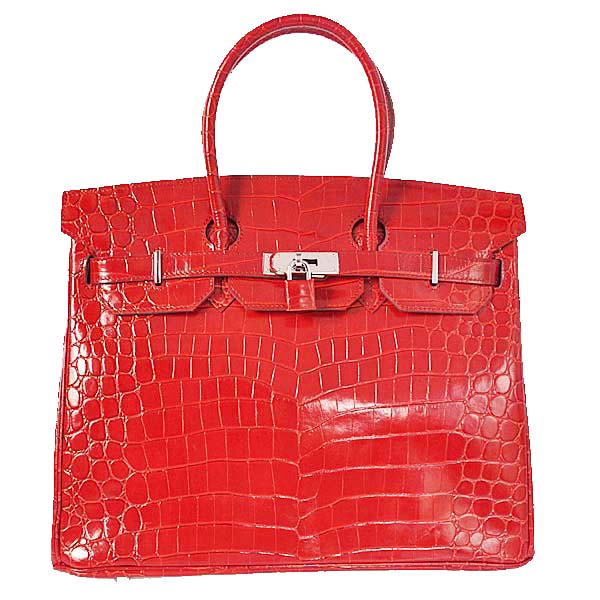 Hermes Birkin 35CM Tote Bag Red Iridescent Croco Leather Silver