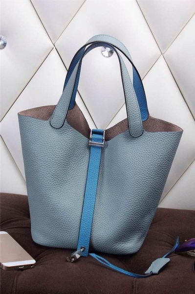 Hermes Picotin Lock MM Bag in Grainy Leather H610M SkyBlue