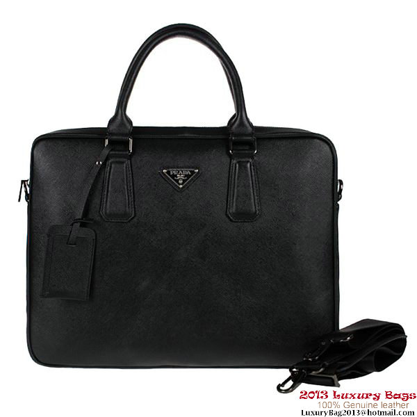 Prada Saffiano Calf Leather Briefcase P8062 Black