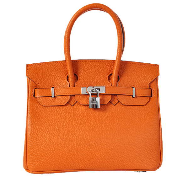 Hermes Birkin 25CM Tote Bags Togo Leather Orange Silver
