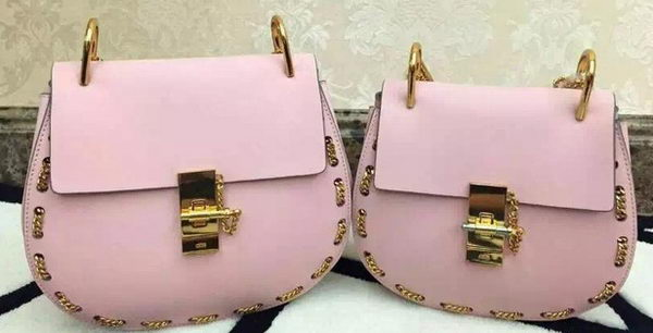 2015 CHLOE Drew Shoulder Bags Original Leather 20828 Pink