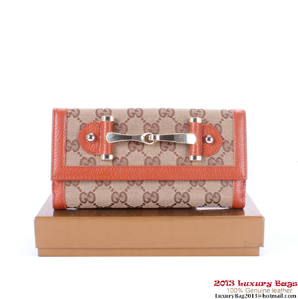 Gucci Continental GG Fabric with Leather Wallet 224257 Tan