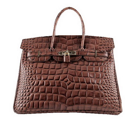 Hermes Birkin 35CM Tote Bags Brown Croco Leather H6089 Gold