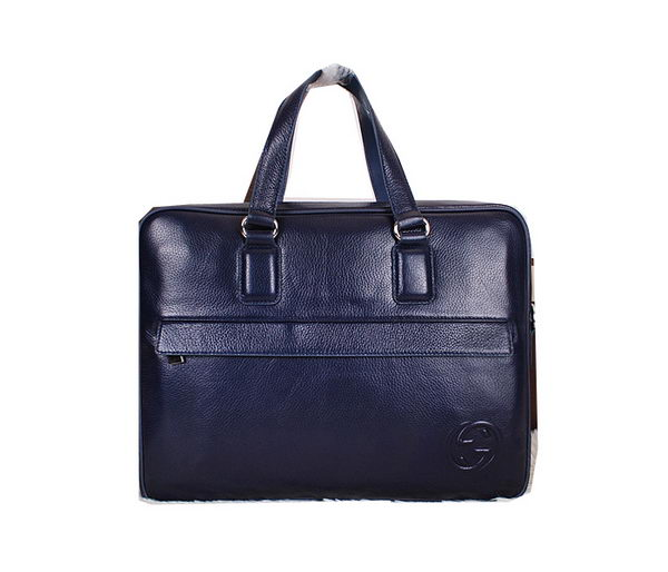 Gucci Smooth Leather Business Briefcase 18635 Blue