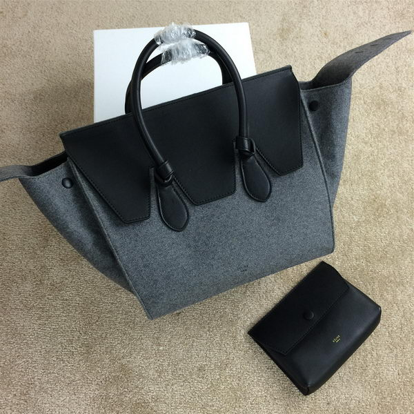 Celine Tie Top Handle Bags Flannelette Leather 98314 Grey