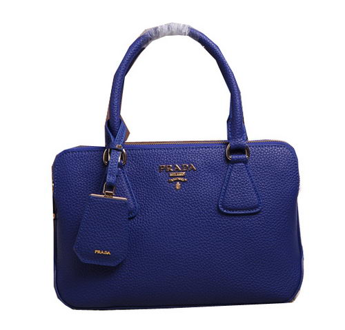 Prada Grainy Leather Top Handle Bags BL2803 Blue