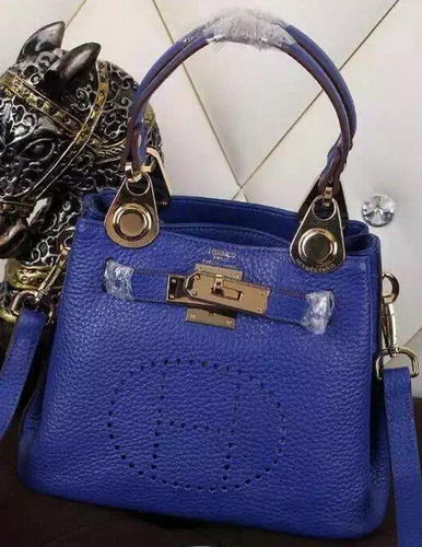 Hermes Evelyne Tote Bag Calfskin Leather HS23 Blue