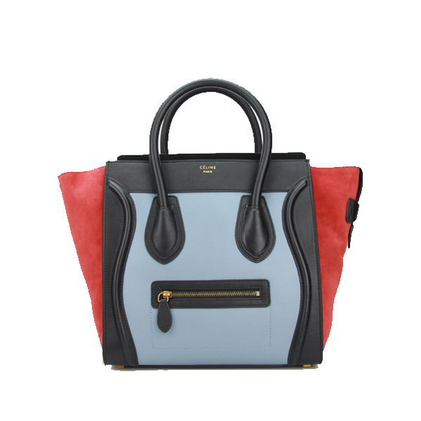 Celine Luggage Mini Bag Original Nubuck Leather CL88022 SkyBlue&Red&Black