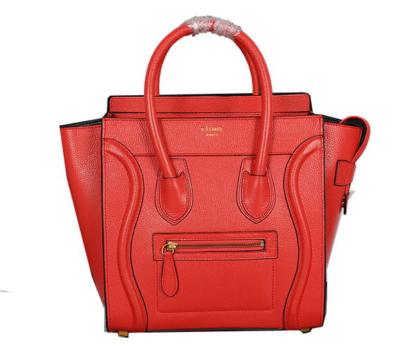 Celine Luggage Micro Handbags Grainy Leather C107 Light Red