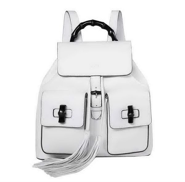 Gucci Bamboo Leather Backpack 370833 White