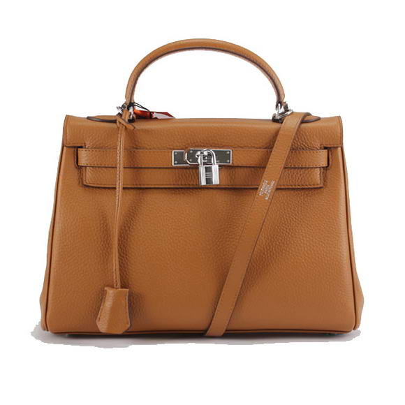 Hermes Kelly 32cm Togo Leather Handbags 6018 Light Coffee Silver