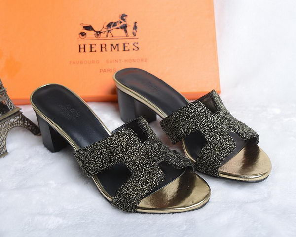 Hermes Slipper Suede Leather HO0449 Black