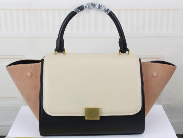 Celine MINI Trapeze Bag Original Litchi Leather CT3345 White&Black&Apricot