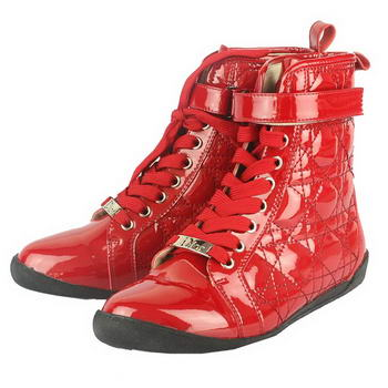 Chrisitan Dior Patent Leather Cannage Stitch Ankle Boots Red