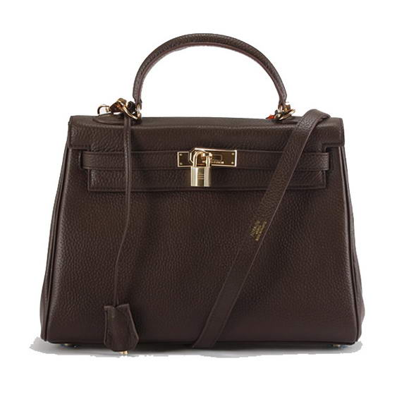 Hermes Kelly 32cm Togo Leather Handbags 6018 Dark Coffee Golden