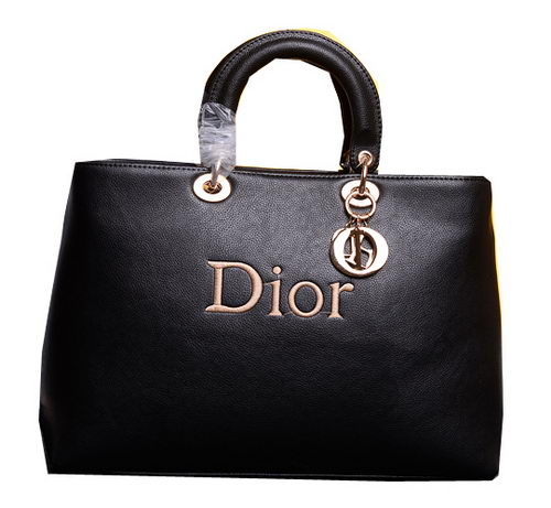Dior Shish Tote Bag Grainy Calfskin Leather D0133 Black