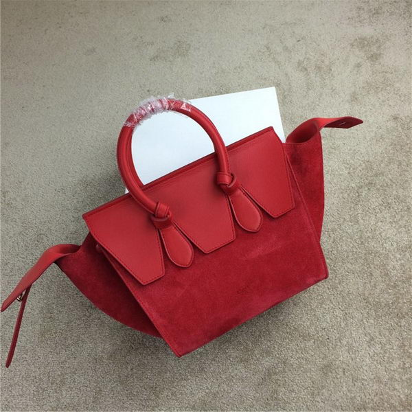 Celine Tie Nano Top Handle Bag Suede Leather 98313 Red