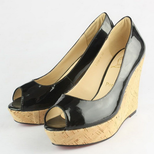Christian Louboutin Patent Leather Wedge Heel CL9776 Black