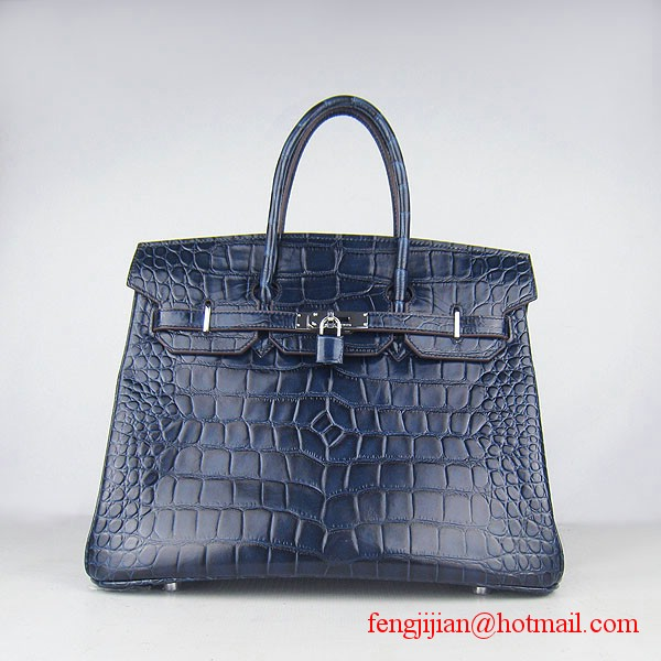 Hermes Birkin 35cm Max Crocodile Veins Leather Bag Dark Blue 6089 Silver Hardware