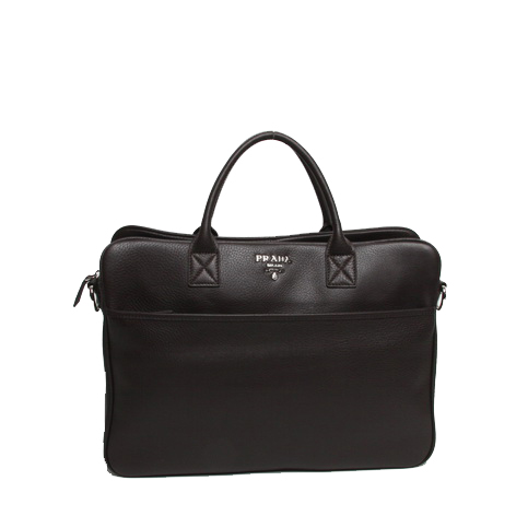 Prada Grainy Calf Leather Briefcase VR0025 Brown