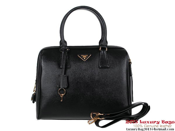 PRADA Saffiano Leather Two Handle Bag BL0812 Black
