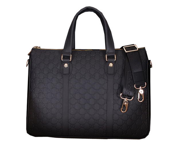 Gucci Guccissima Leather Business Briefcase 86091 Black