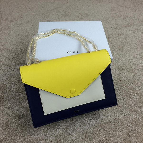 Celine Pocket Handbag Seashell Smooth Calfskin 175383 Royal&White&Yellow
