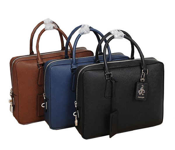 PRADA Saffiano Calf Leather Briefcase VS0088