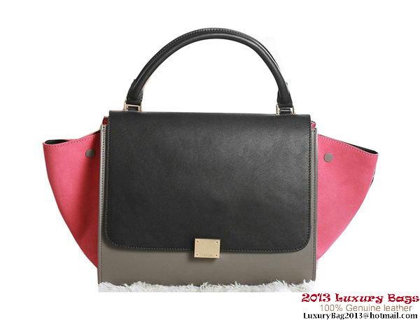 Celine Trapeze Top Handle Bag Original Leather 3342 Black&Khaki&Rose