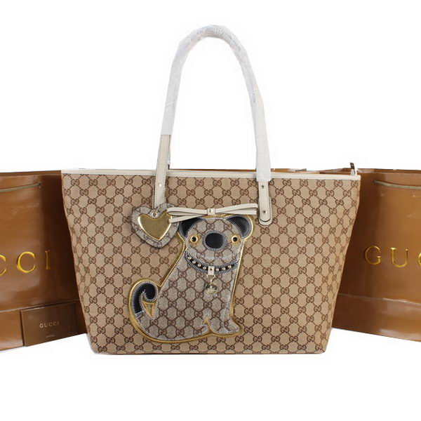 Gucci Joy Supreme Dog Canvas Shoulder Bag 212374 White