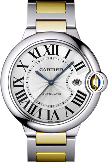 Cartier Ballon Bleu Large Series Great Stainless Steel and 18k Yellow Gold Mens Automatic Wristwatch-W69009Z3