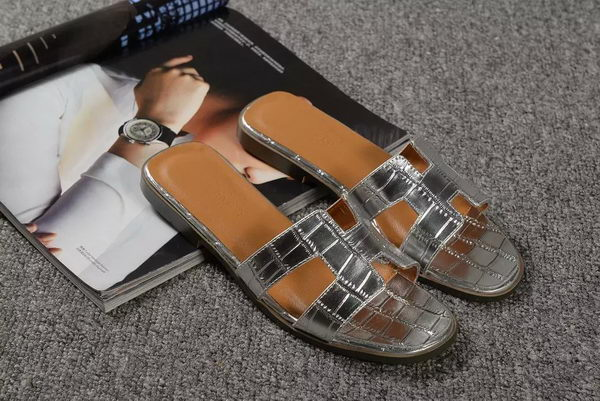 Hermes Slipper Croco Leather HO0451 Silver