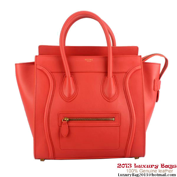 Celine 16521 3GFL 27ED Luggage Mini Shopper Red