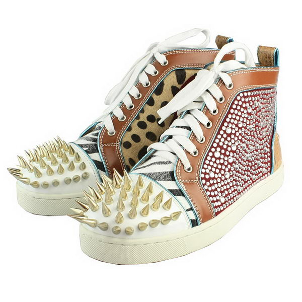 Christian Louboutin Sheepskin Gold Spike Sneaker Brown