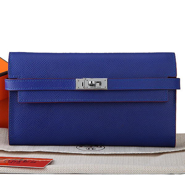 Hermes Kelly Original Saffiano Leather Bi-Fold Wallet A708 RoyalBlue