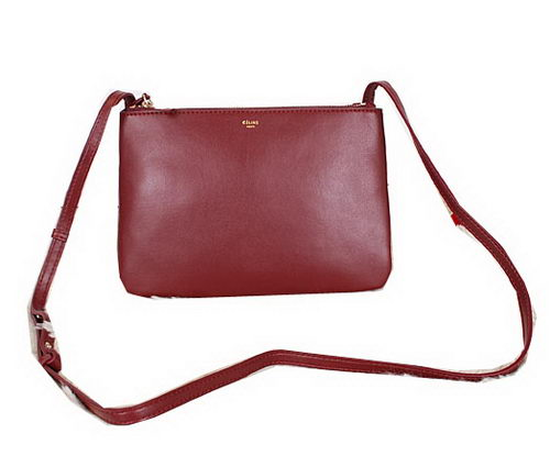 Celine Trio Calfskin Leather Shoulder Bag C27002 Burgundy