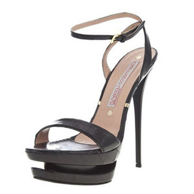 Gianmarco Lorenzi Black Strap Open toe Heel Sandals
