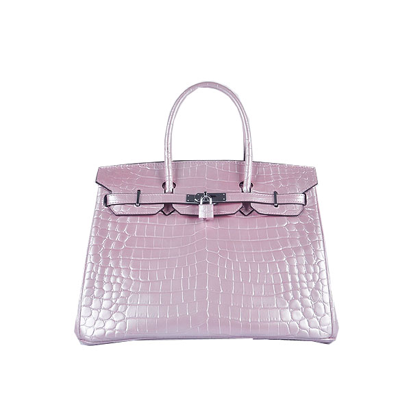 Hermes Birkin 35CM Tote Bag Lavender Shiny Croco Leather H6089 Silver