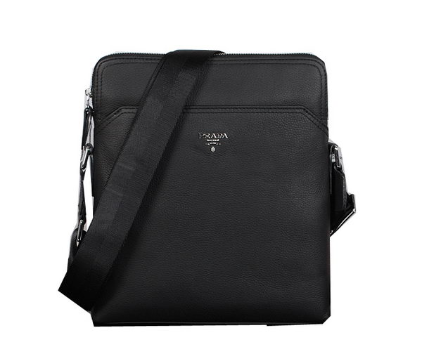 Prada Grainy Leather Messenger Bags P253 Black
