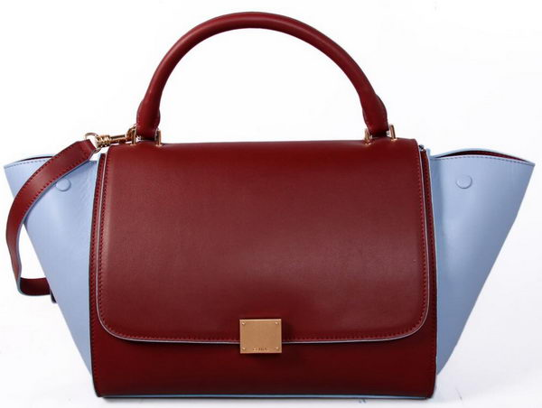 Celine Smooth Leather Trapeze Bag CL88037 Maroon&SkyBlue