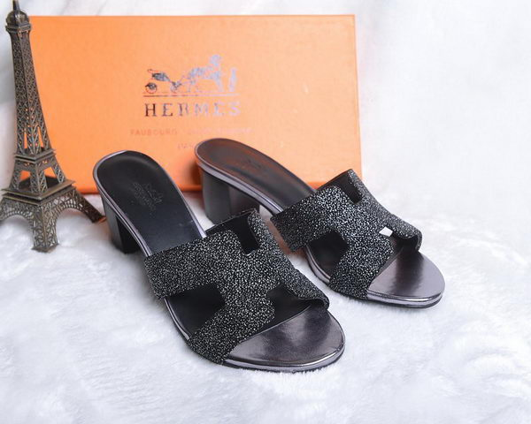 Hermes Slipper Suede Leather HO0450 Black