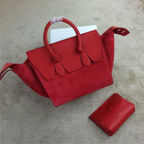Celine Tie Top Handle Bag Suede Leather C98314 Red