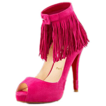 Christian Louboutin Suede Fringe Pump Wine Red
