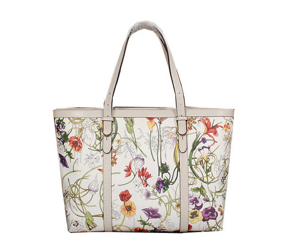 Gucci Top Handle Shiny Flora Leather Bag 309613 OffWhite