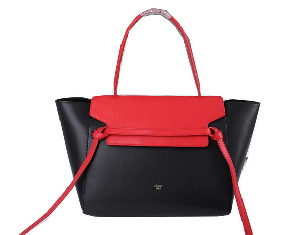Celine Small Belt Bag Original Ferrari Leather C3397 Black&Red
